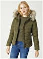 Only Only Newellan Quilted Fur Hood Mont Haki